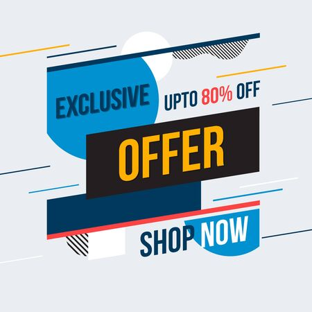 Exclusive offer banner. Vector illustration. Concept advertising. Marketing strategy.