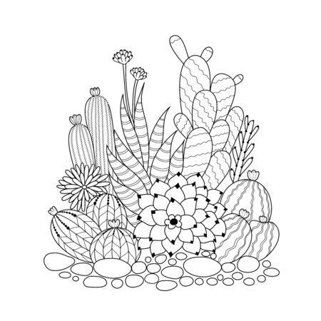 Cactus para colorear para adultos y niños. Dibujado a mano. ilustración vectorial.