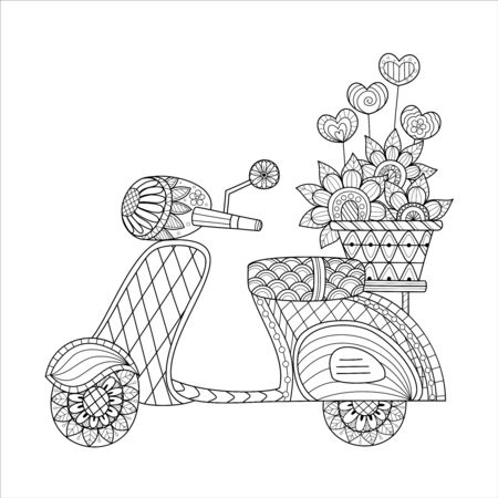 Coloring book of scooter with flower love valentine. Vector illustrstion. Hand drawn.