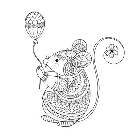 Libro de colorear de estilo de rata para adulto. Ilustración vectorial Dibujado a mano.
