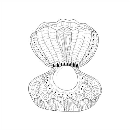Shell coloring book of style for adult. Vector illustration.Hand drawn.