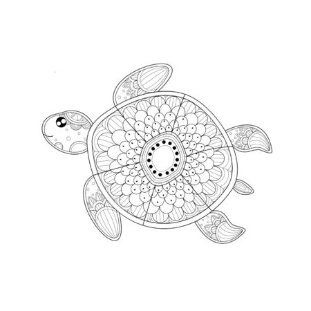 Turtle coloring book of style for adult. Vector illustration.Hand drawn.