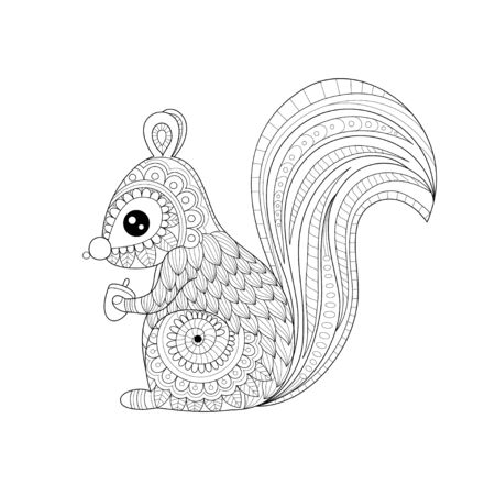 Squirrel coloring book of style for adult. Vector illustration.Hand drawn.