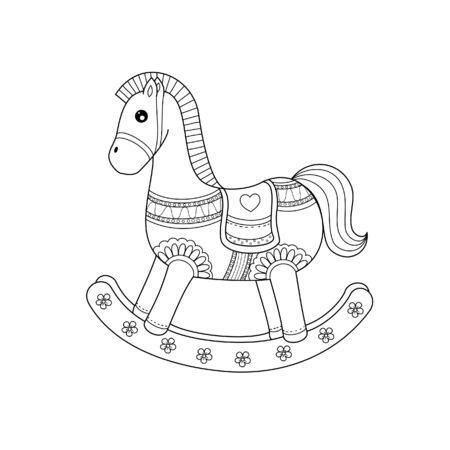 Libro da colorare di stile del cavallo a dondolo per adulto. Illustrazione vettoriale. Disegnato a mano.