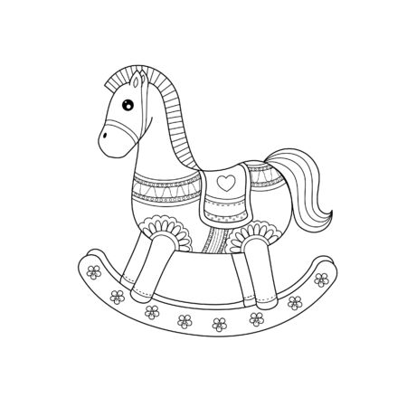 Rocking horse coloring book of style for adult. Vector illustration.Hand drawn.