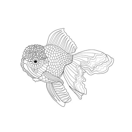 Goldfish coloring book of style for adult. Vector illustration.Hand drawn.
