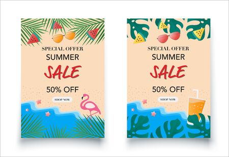 Special summer sale. Summer background and banner.Vector illustration. Flat design.