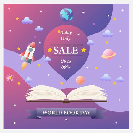 World book day sale banner. vector illustration. Flat design. Ilustração