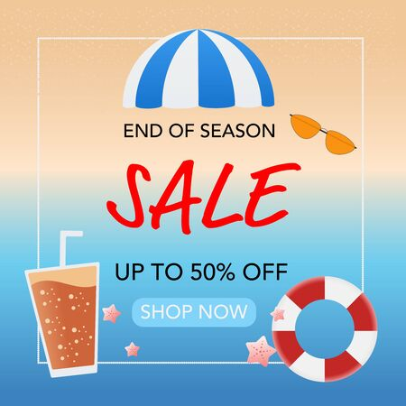 Summer sale banner background. End of season. Vector illustration. Flat design.  Ilustração