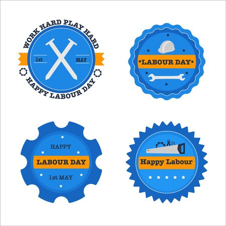 Set of labourday badge. Vector illustration. Flat design.