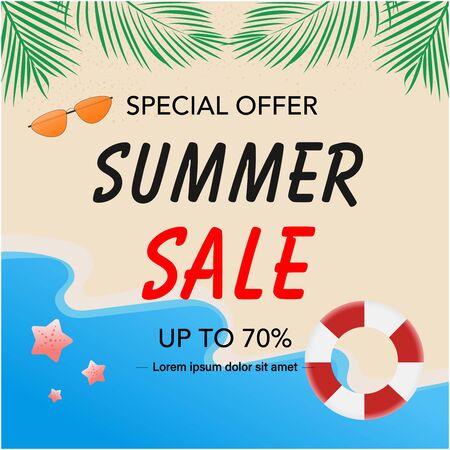 Summer sale banner background. Only season. Vector illustration. Flat design.  Ilustração