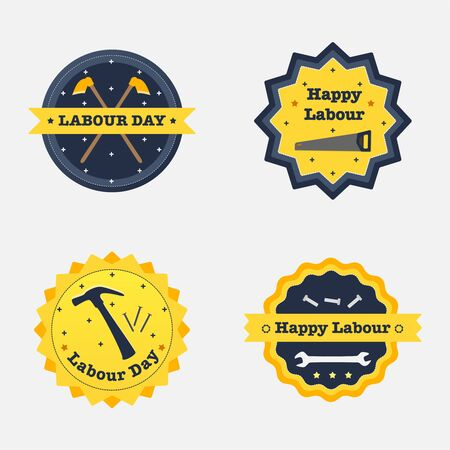 Set of labourday badge. Vector illustrstion. Flat design. Ilustração