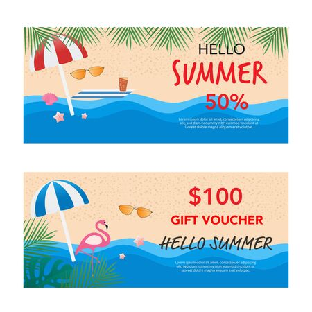 Hello summer sale gift voucher. End of season. Vector illustration. Flat design.  Ilustração