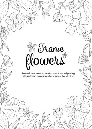 Frame flowers coloring book for adult. Vector illustration. Ilustração