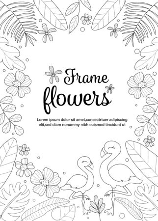 Tropical frame flowers with flamingo coloring book. Vector illustration. Ilustração