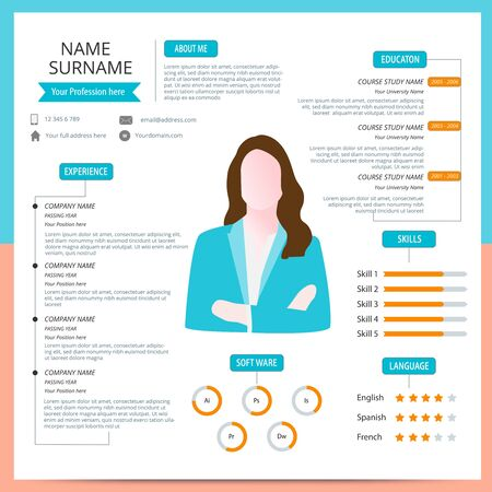 Online cv template. Resume template. Vector illustration. Flat design.