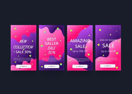 Set of social media stories template. Sale banner background. Flat design.