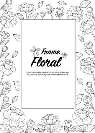Pheony botanical drawning. Coloring book page for adult. Vector illustration. Hand drawn.