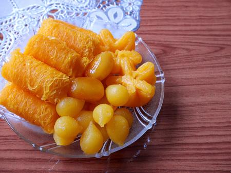 thong: Sweet Shredded Egg Yolk form Thailand on the table (Thong Yib,Thong Yod,Foi Thong)