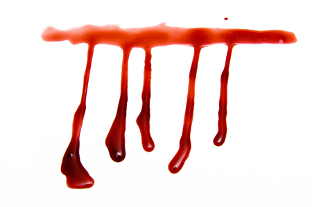 Drops of blood on a white background.