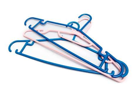 semitransparent: Blue and pink Hanger plastic On a white background. On a white background. Stock Photo