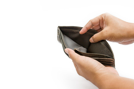 오픈 빈 가죽 지갑, 주머니에 돈, 빈