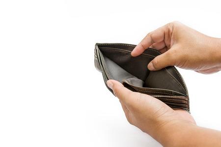 Open lege lederen portemonnee, geen geld in de zak, leeg Stockfoto