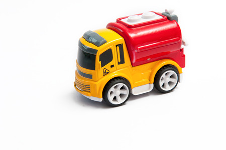 Toy fire truck On a white background Stock Photo
