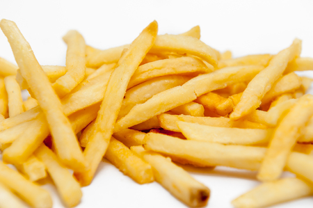 Close up French fries Or it fry  placed on a white background.