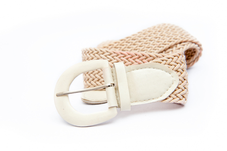 White womens fashion belt, modern fashion on white.