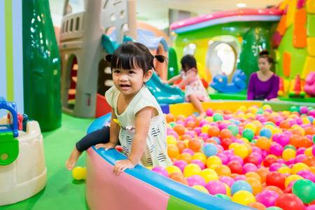 Bangkok, Thailand, June 13, 2017: A cute little girl Playing in Seacon Square theme park. The famous department store in Thailand.