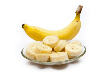banana skin: Yellow banana, healthy fruit on a white background Stock Photo