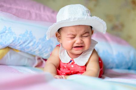 Asian little girl crying But still cute Banco de Imagens