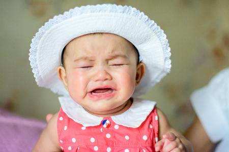 Asian little girl crying But still cute 免版税图像