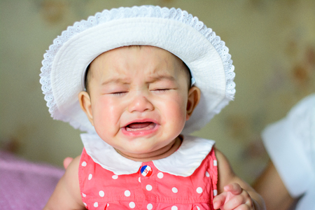 Asian little girl crying But still cute Archivio Fotografico