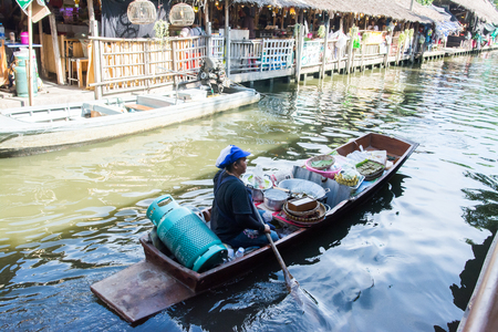 Bangkok, Thailand: September 9, 2017: There are unknown unknowns for sale. Food to travelers who come to the floating market of the canal is a famous floating market of Thailand. Editorial
