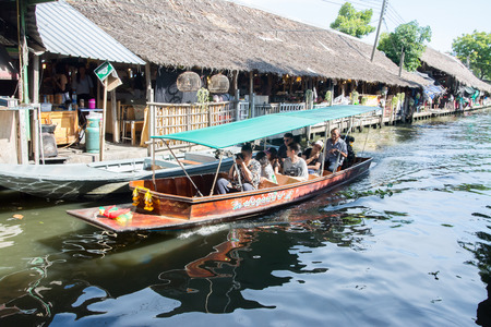 Bangkok, Thailand: September 9, 2017: Tourists do not know the names of both Thai and foreign nationals visiting the floating market of Klong Lad Mayom, a famous floating market of Thailand. Editorial