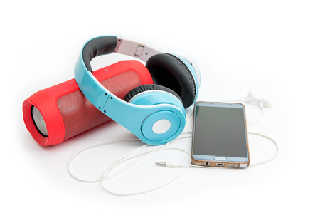 Speakers, headphones and phones, music devices Stock Photo