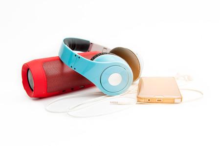 Speakers, headphones and phones, music devices 免版税图像