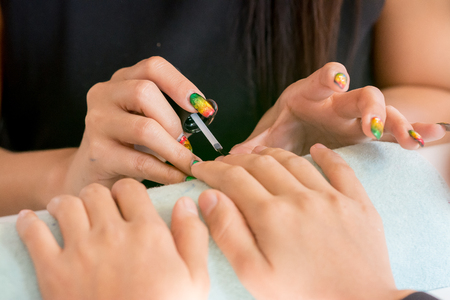 Manicure and pedicure for customers, beauty. Stock Photo