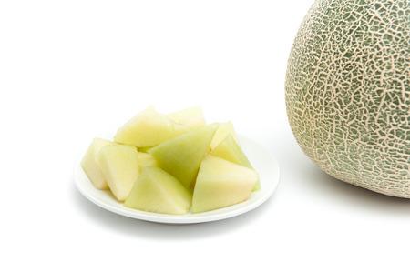 Melon green, fruit balls, sweet taste delicious.Cut into plates.