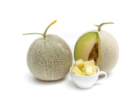 Melon green, fruit balls, sweet taste delicious.Cut into plates.