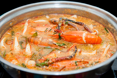 Thai food, Close up Tom Yum Kung . Stock Photo