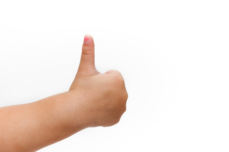 The hand is lifting the thumb. On a white background