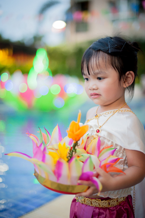 Little girl in Thai traditional costume, Loy Krathong