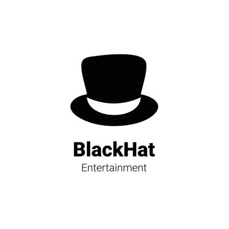 black hat logo concept in silhouette black and white