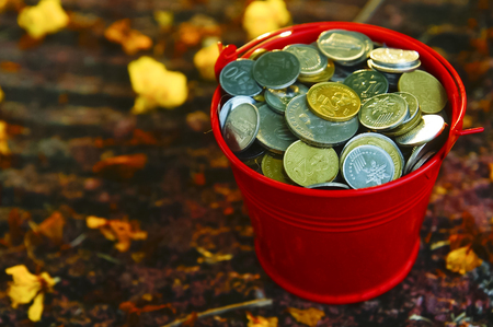 top view of bucket full of coins on the ground with flower with sunset colour tone Stock Photo