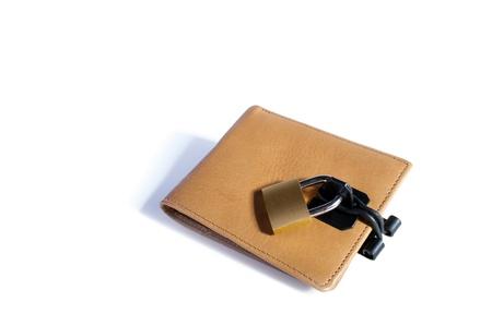 A locked   padlocked wallet