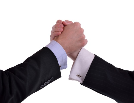 image of two male hands in a gripped handshake. Isolated on white