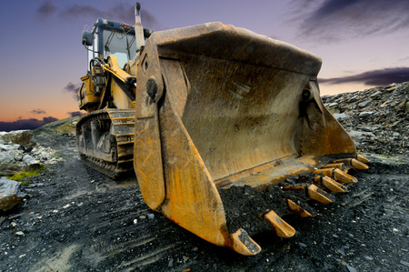 Image of a Quarry Shovel at sunset. Stock Photo